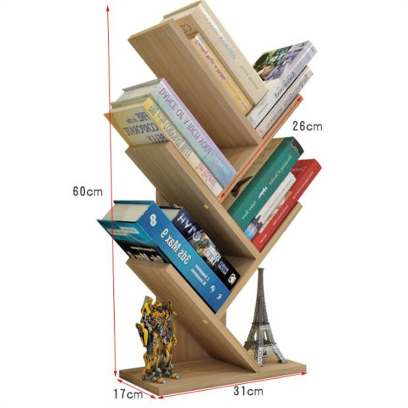 60*31*17CM Modern Desktop Bookshelf Four Layer Office Bookcase Wood Children Bedroom Bookrack