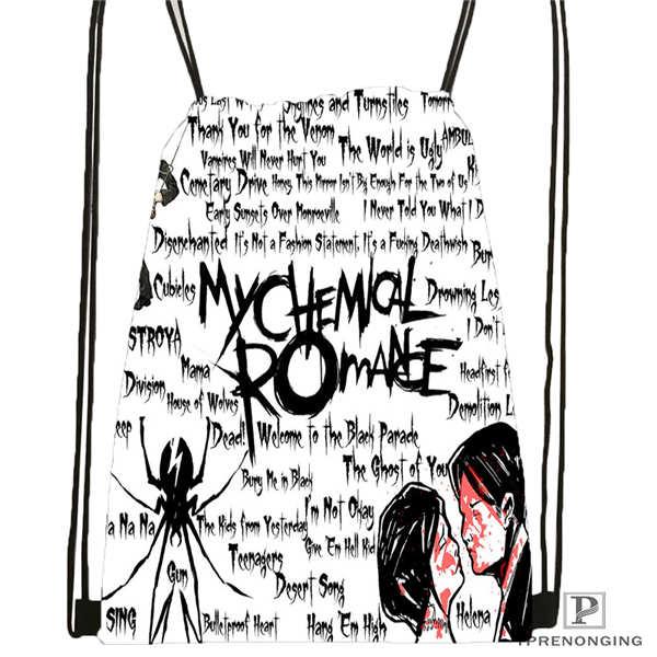 Custom Its_my_chemical_romance@02- Drawstring Backpack Bag Cute Daypack Kids Satchel (Black Back) 31x40cm#180611-03-110