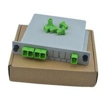 SC APC PLC 1X4 FTTH волоконно оптический разветвитель коробка 1X4 SC PLC разветвитель плоский волновой Тип оптический соединитель разветвитель Бесплатная доставка