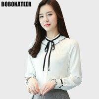 BOBOKATEER Ladies White Office Shirt Womens Tops And Blouses Long Sleeve Clothing Chiffon Blouse Women Top