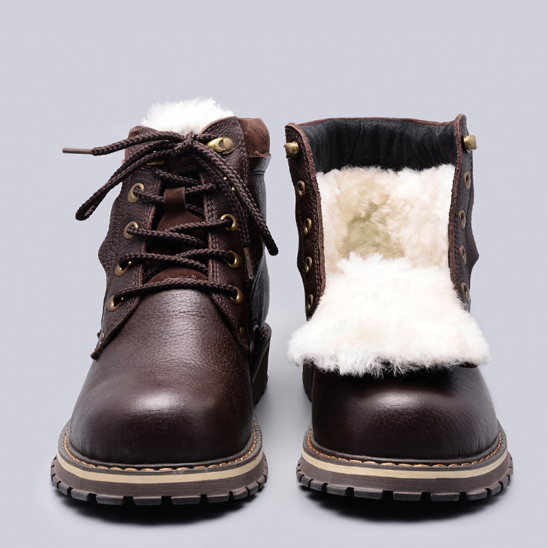 Size 38~50 Natural Wool Winter Boots Russian Style Full Grain Leather Sheep Fur Handmade Men Winter Snow Boots #YM8988