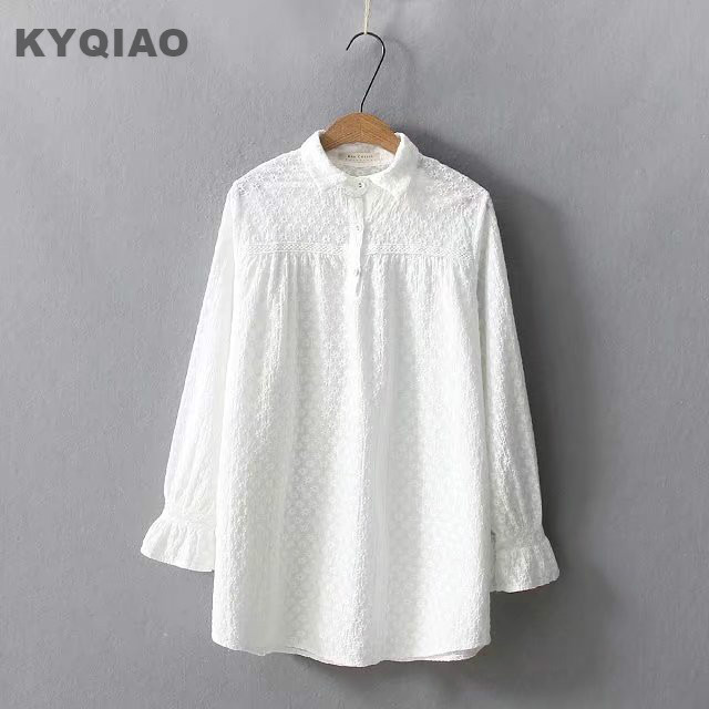 Women's Clothing Kyqiao Women White Shirt Female Autumn Spring Japanese Style Brief Long Sleeve White Cross-stitch Blouse Blusas Mujer De Moda Moderate Price