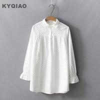KYQIAO חולצה לבנה 2018 מורי בנות סתיו האביב יפן סגנון שלג לבן שרוול ארוך תורו למטה צווארון רקמת חולצה blusa