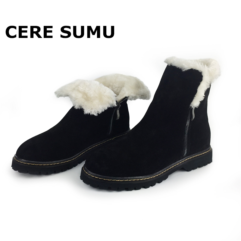 2018 Real Natural Genuine Leather Cow Suede Snow Boots for Women Winter Warm Fur High Quality Ankle Boots Ladies Shoes Woman zvq winter knee high boots woman mid heel round toe ladies warm shoes real fur genuine leather foot upper women boots heels