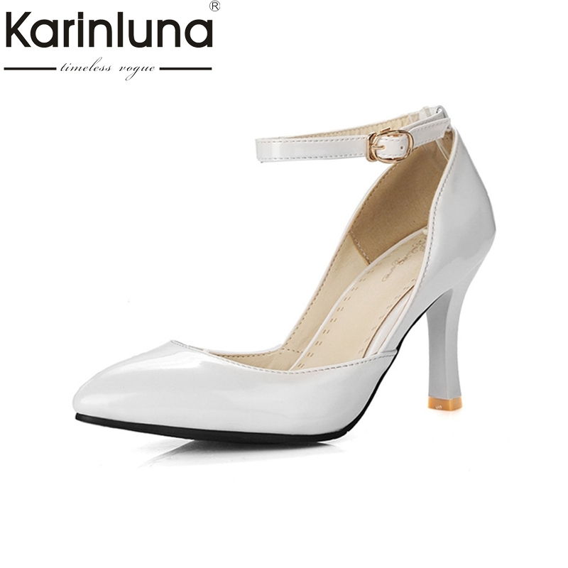 KARINLUNA Big Size 34-43 2017 pointed toe Women Shoes Sexy High Heels Office Lady Dating Party wedding Pumps Footwear karinluna big size 31 47 office lady shoes women med heels slip on elegant round toe dating woman pumps pink black
