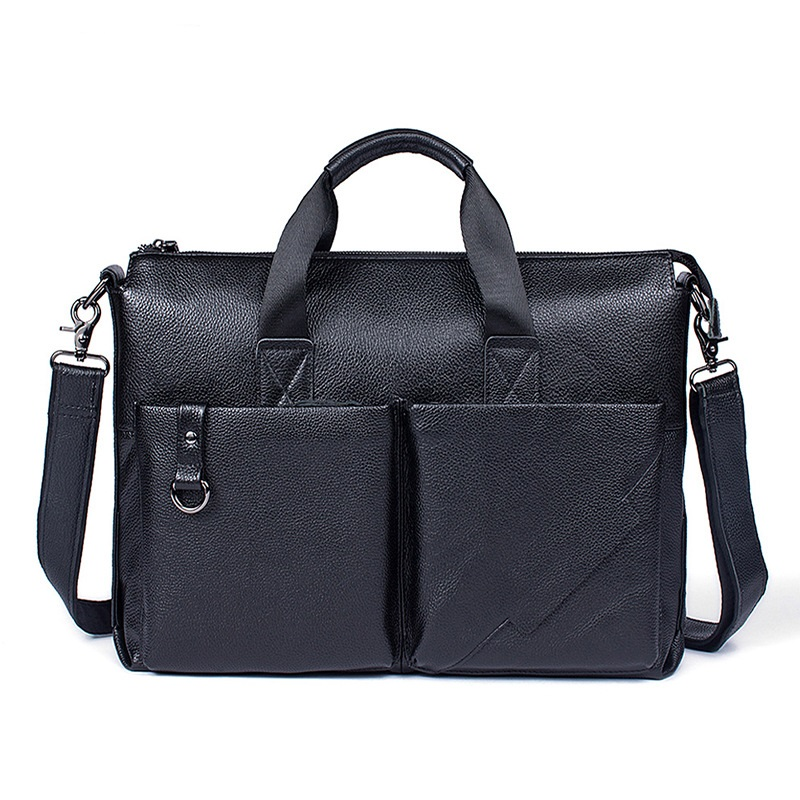 Uniego Genuine Leather Men Briefcase Male Shoulder Bag High Quality Men Crossbody Messenger Bags Male Handbag Laptop Bag HB144 senkey style simple fashion genuine leather men bags high quality men s crossbody bag male casual handbag shoulder messenger bag