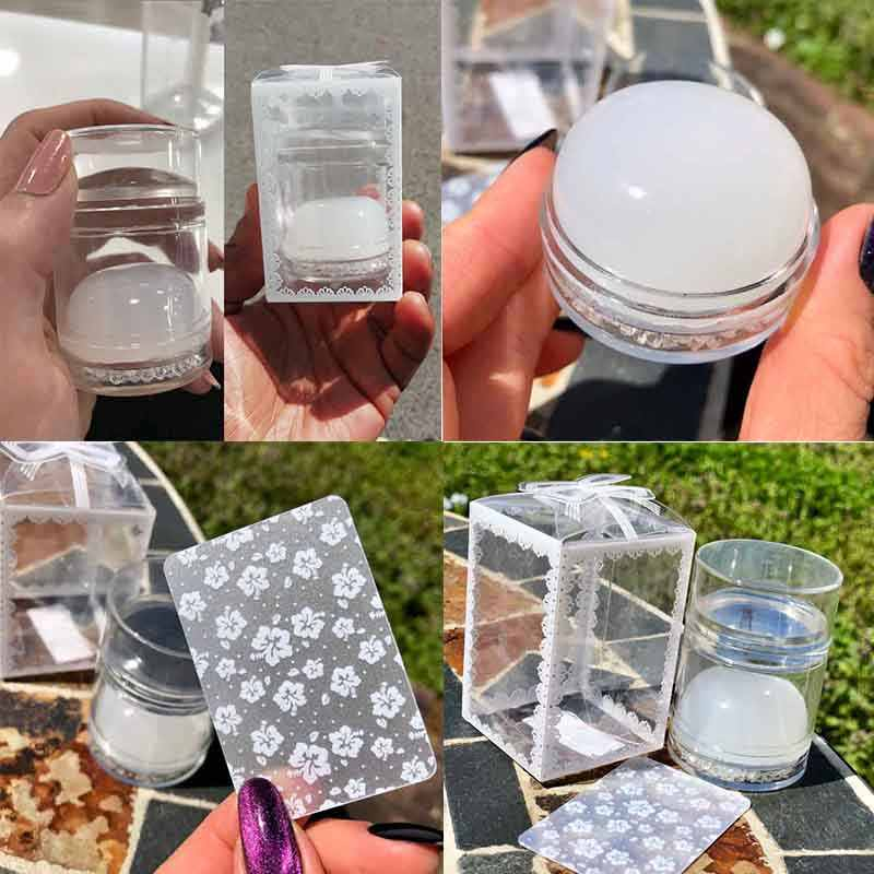 Dual-ended Handvat Nail Stamper Jelly Siliconen Hoofd Helder Wit Voor Nail Art Stempelen Plaat met Nail Schraper Stempelen nail Kits