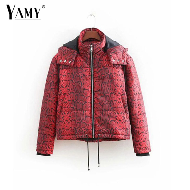 e3134929e34 2018 Winter snake print jacket women warm plus size bomber jacket female  Korean Streetwear long sleeve