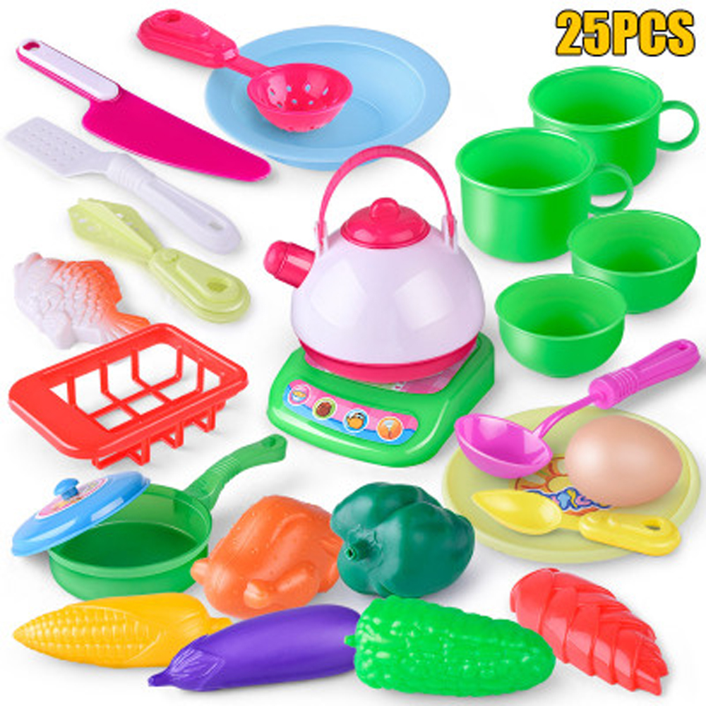 US $8.76 37% OFF|Children Kitchen Set Pretend Play Toy Utensils 25PCS Fruit  Vegetables Plastic Kids Cook Food Early Educational interactive Game-in ...