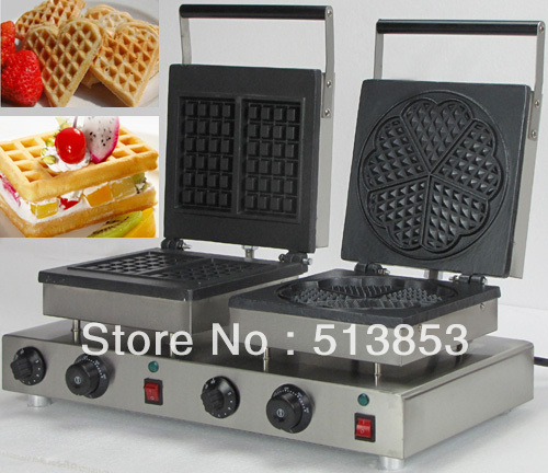 Free Shipping, High Quality Doulbe-Head Electric Square Waffle+ Heart Shape Waffle Maker Machine Baker free shipping high quality doulbe head electric cream cone round waffle maker machine baker