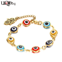 Здесь можно купить   Fashion Stainless Steel 8MM Evil Eye Beads Bracelets 18K Gold Plated Fatima Hand Charm Bracelets For Women Fashion Jewelry
