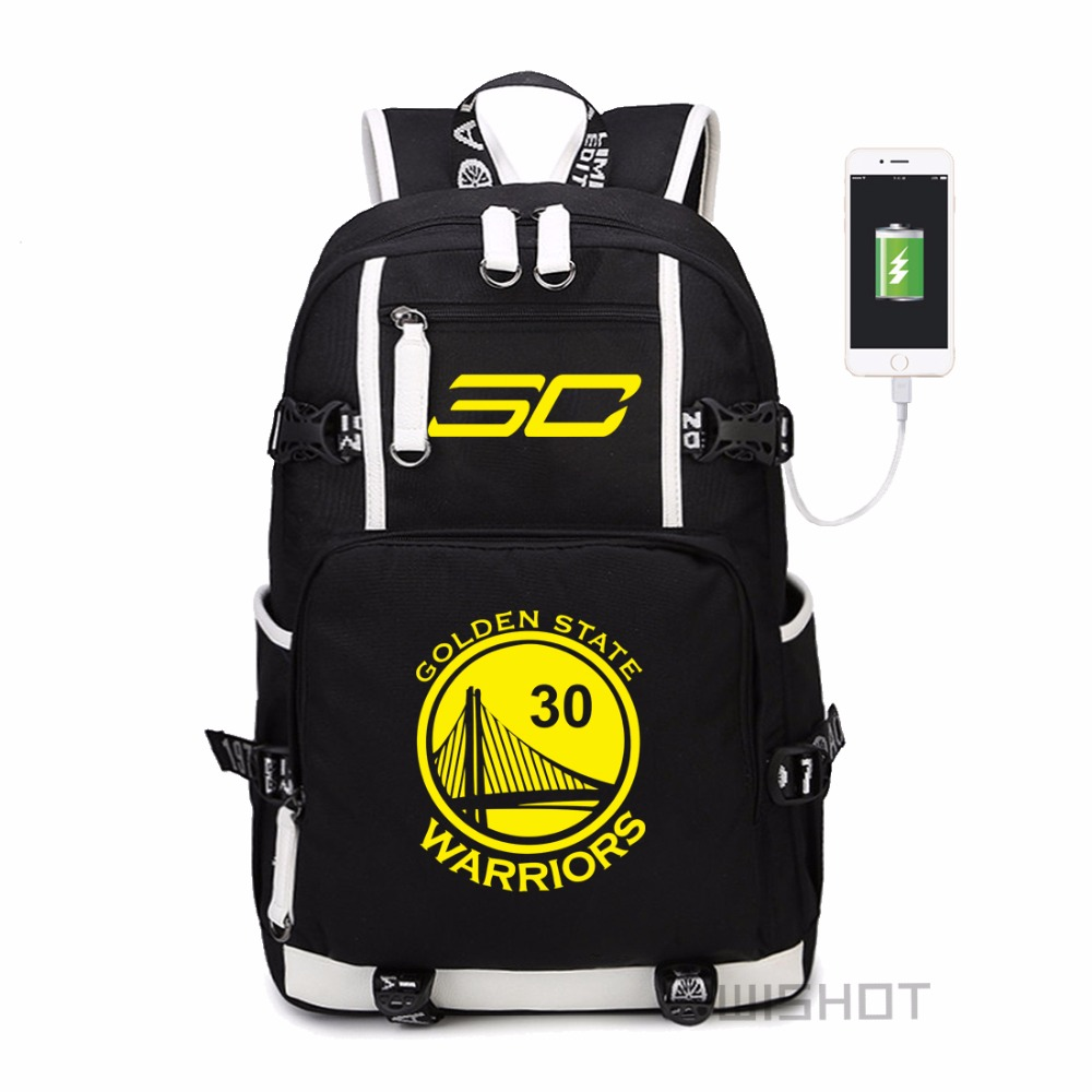 WISHOT  Curry  backpack teenagers Men women's Student School Bags travel Shoulder Laptop Bags  multifunction USB charging