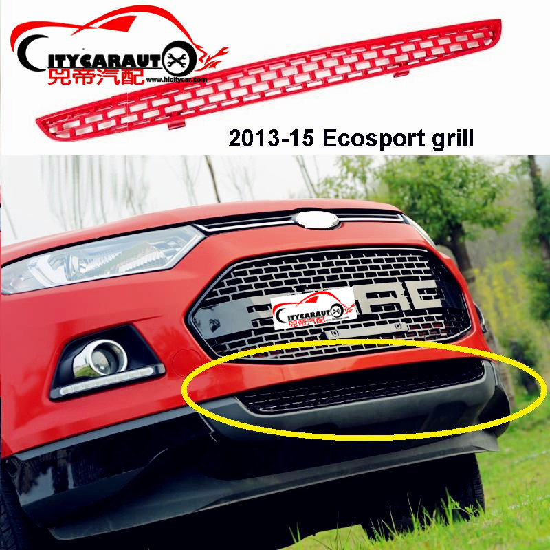 CITYCARAUTO FREE SHIP DOWN SIDE CAR GRILL RACING FRONT GRILL GRILLE FIT FOR ECOSPORT 2014-2017 raptor grills 10th front bumper grill abs material middle grille racing grills type r grill mesh case for honda civici 2016 2017