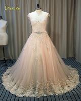 Loverxu Vestido De Noiva Scoop Neck A Line Wedding Dresses 2017 Appliques Beading Sashes Chapel Train Bridal Gown Plus Size