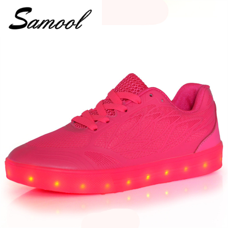 Tenis Feminino LED fashion Candy colors 7 Colorful Light Shoes female Fluorescent Lumino ...