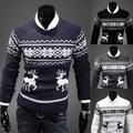New 2014 Spring & Winter Christmas Reindeer O-neck Knitted Mens Sweaters Casual Pullover Slim Fit Outerwear Man Clothing M-XXL