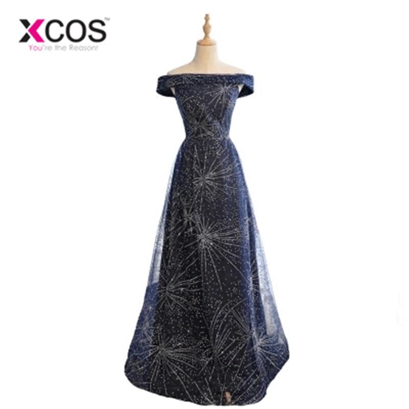 Xcos Звездное с плеча Bling Выпускные платья Темно-синие Пром платья Длинные 2018 Новое поступление вечернее платье Бусины