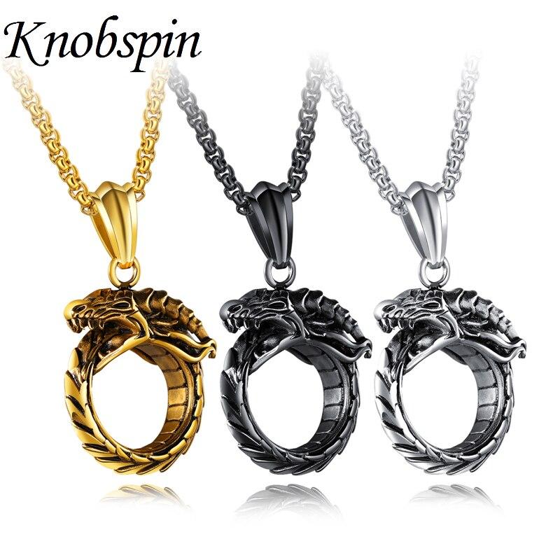 Retro ouro/preto cores ouroboros dragão pingente colar moda clássico titânio aço masculino colar jóias colar colar colar masculino