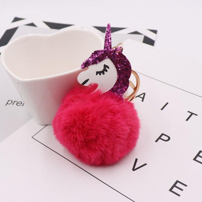 1 шт. Kawaii Единорог мех мяч брелки искусственный помпон кролик кольцо для ключей мешок автомобильный брелок ключ держатель фигурку игрушки