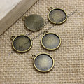 60pcs/lot Antique Bronze Metal Alloy Round 15*18mm (Fit 12mm DIA) Cameo Pendant Cabochon Setting Pendant Blanks T0113
