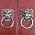 Estilo chino de la vendimia Unicornio cabeza anillos gota zapato gabinete cajón perillas tirones manija de latón antiguo de cobre antiguo manija cómoda