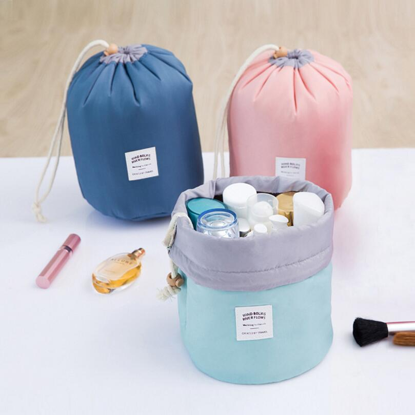 2018 Real New Arrival Barrel Shaped Travel Cosmetic Bag Nylon High Capacity Drawstring Drum Wash Bags Makeup Organizer Storage 38mm cylinder barrel piston kit