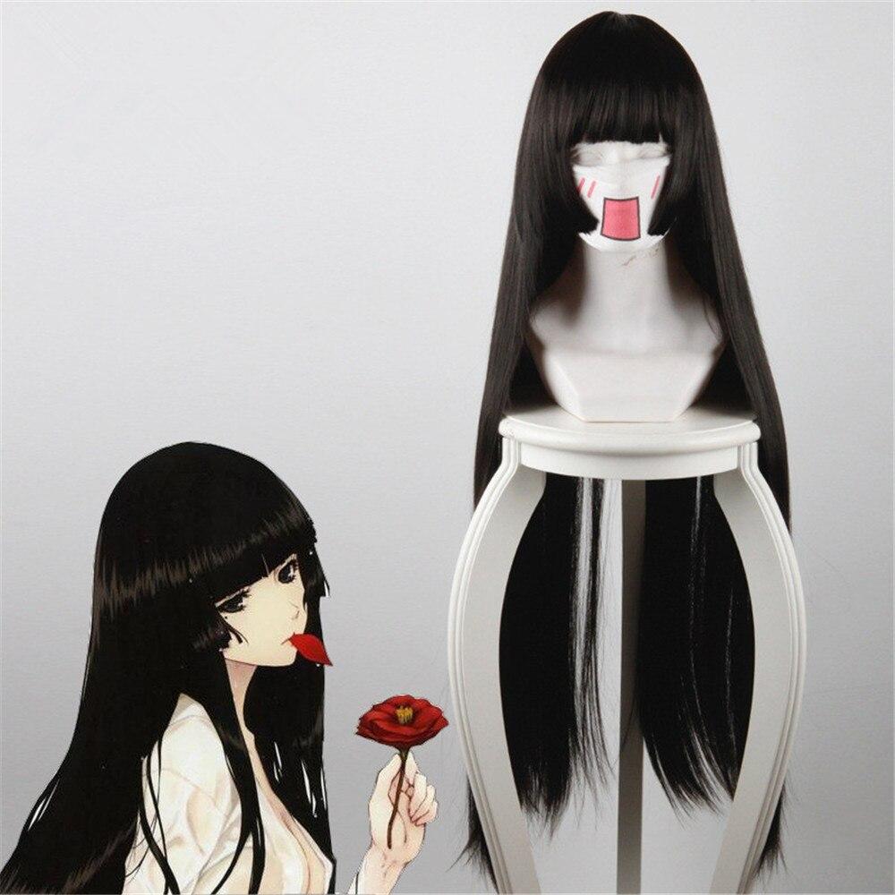 80CM Hell Girl Enma Ai Long Straight Black Synthetic Hair Anime Cosplay Hair Wig