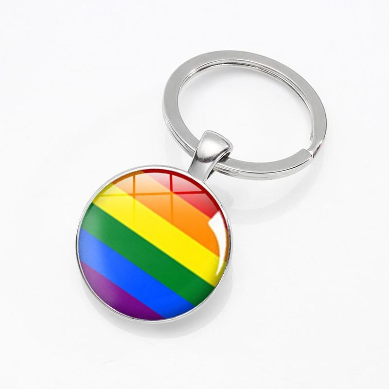 Pride Rainbow Keychain Metal Keyring Key Ring Holder Jewelry Gift Fashion