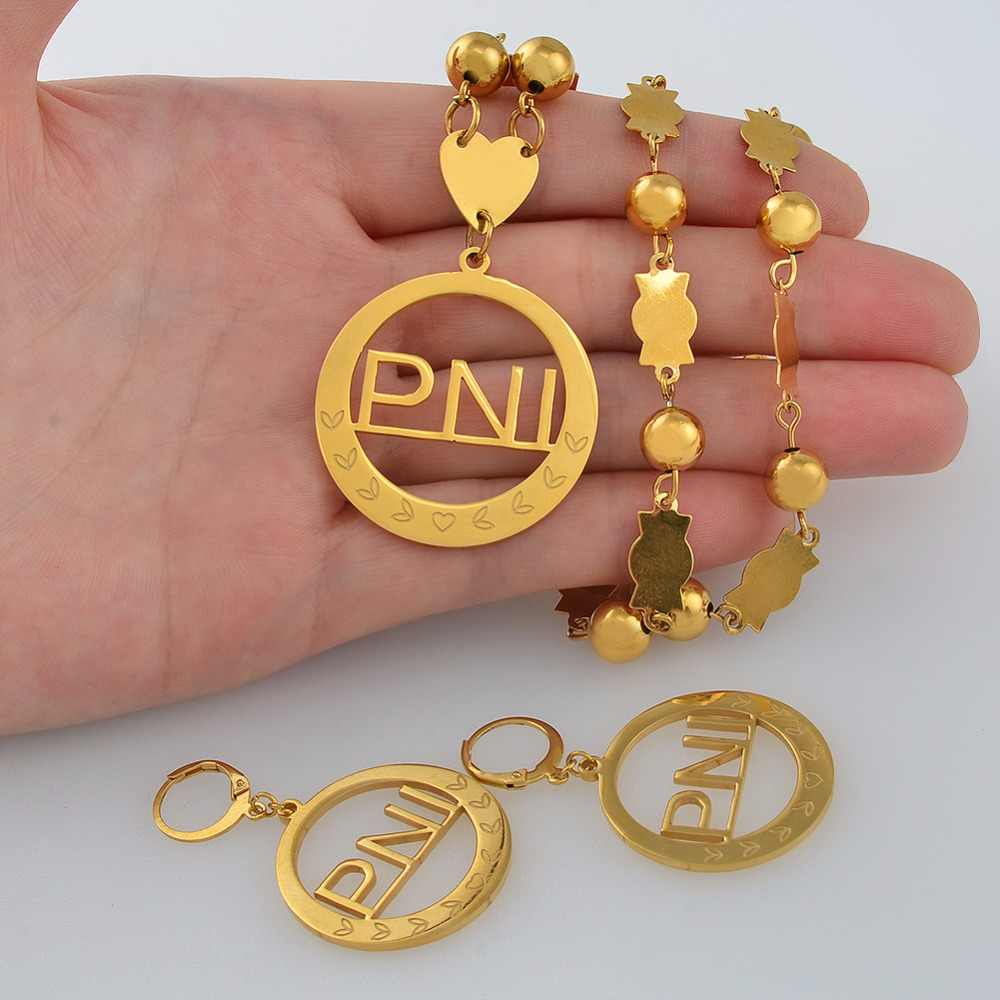 Anniyo Micronesia PNI Big Pendant Beads Necklaces Earrings sets Round Ball Chains Ethnic Jewelry Gifts #047821