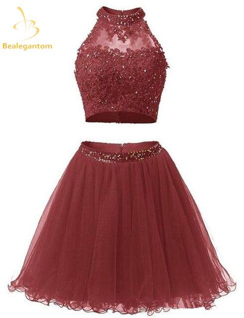 6bf4050610e Bealegantom New Mini A-Line Two Pieces Short Homecoming Dresses 2018 With Appliques  Prom Party Dresses Graduation Dress QA1168