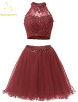Bealegantom New Mini A Line Two Pieces Short Homecoming Dresses 2018 With Appliques Prom Party Dresses Graduation Dress QA1168