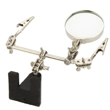 Third Hand Soldering Iron Stand Helping Clamp Vise Clip Tool 6x Magnifying Glass font b Electronic