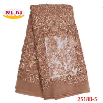 African Beaded Flowers Lace Fabric 2019 High Quality Fashionable Style Nigerian Embroidered Tulle Lace Fabric Material XY2518B-4