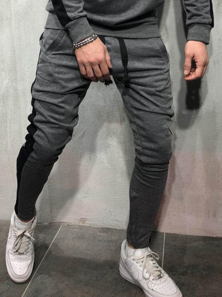 Мужские модные брюки для бега новые полосатые городские прямые повседневные брюки тонкие длинные штаны для фитнеса S-2XL - Цвет: Серый