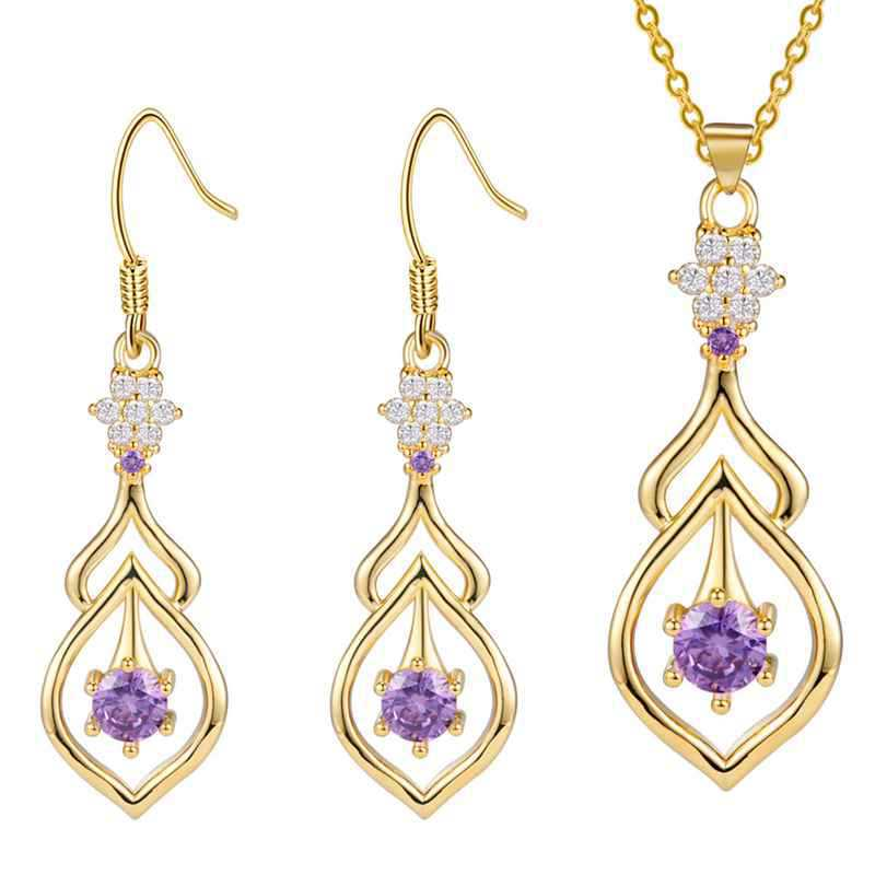 Pendant necklace Earrings 925 new Crystal set and Creative Suite katami wholesale order brinco wedding for women