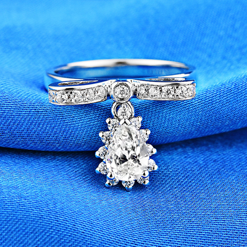 0.8ct Carat anneaux Bowknot pour femmes AAAAA haute qualité NSCD luxueux anneaux de mariage 925 argent blanc or couleur bijoux
