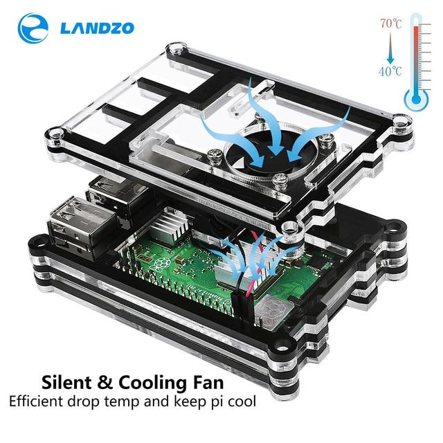 2018 Raspberry Pi 3 Model B Case 9 Layer Acrylic Box Black Cases