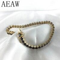Модный стильный Твердый 14 K 585 желтый золотой 18 карат ct 3 мм черный Moissanite алмазный браслет для женщин Тест Положительный