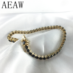Trendy Style Solid 14K 585 Yellow Gold 18 Carats ct 3mm Black Moissanite Diamond Bracelet For Women Test Positive(China)