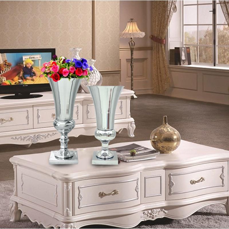 2 개 / 몫 실버 금속 웨딩 꽃병 테이블 중심 Mariage - 가정 장식 - 사진 6
