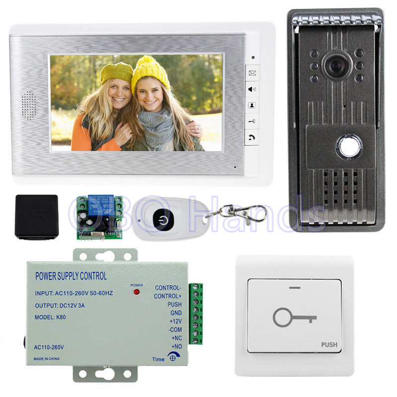 7'' wired color video door phone kit set with outdoor doorbell camera+intercom monitor+power supply for access control system brand new wired 7 inch color video intercom door phone set system 2 monitor 1 waterproof outdoor camera in stock free shipping