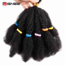 Wignee Kinky Twist Synthetic Hair Extensions For Black Women 12Afro Bulk Black/Brown Crochet Braiding Bundles