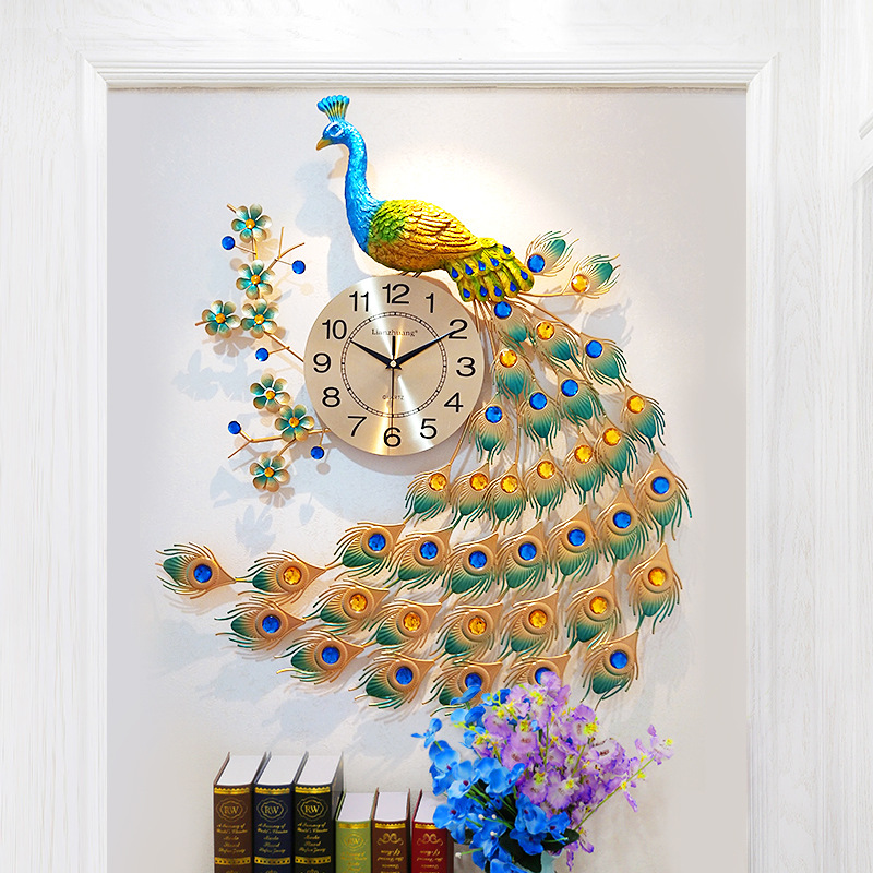 Chinese Peacock Wall Clock Living Room Silent Watch Home Decor Modern Design Large Metal Digital Clocks