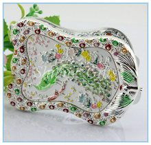 Newly crystal peacock pattern russian mirrors metal folding mirror jewelry folding mirror