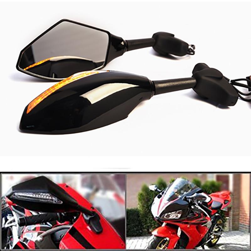 Black LED Turn Rear View Mirrors Fit Honda CBR900RR CBR929RR CBR954RR CBR600 F4i