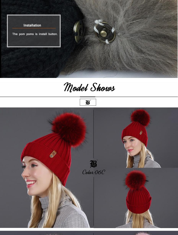 [FLB] Wholesale Real Mink Fur Pom Poms Knitted Hat Ball Beanies Winter Hat For Women Girl 'S Wool Hat Cotton Skullies Female Cap 42