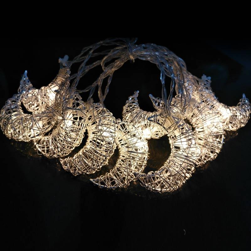 Newest LED String Light 10 LED Moon Shape Lamp Room Garden Yard Festival Christmas Iron Wire Decoration
