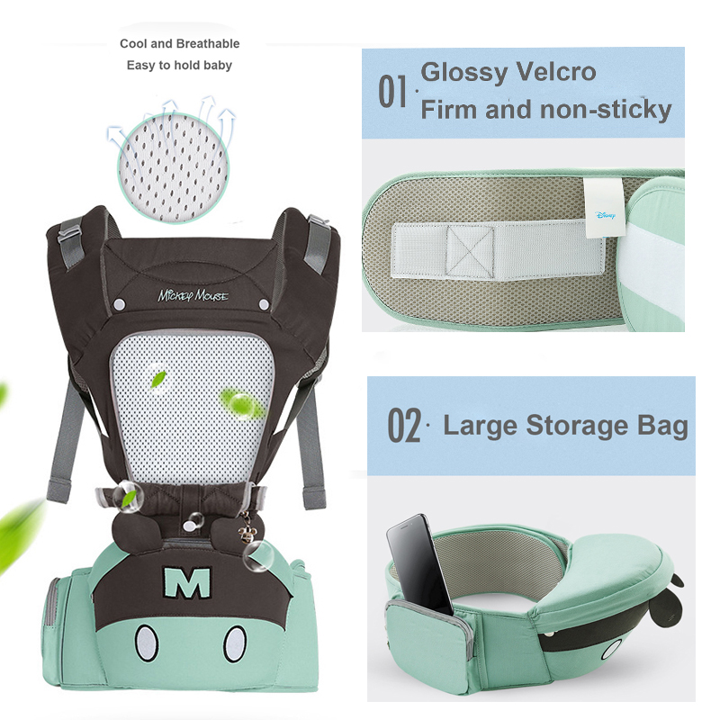 disney 0-36 months breathable front facing ergonomic baby carrier and pouch wrap
