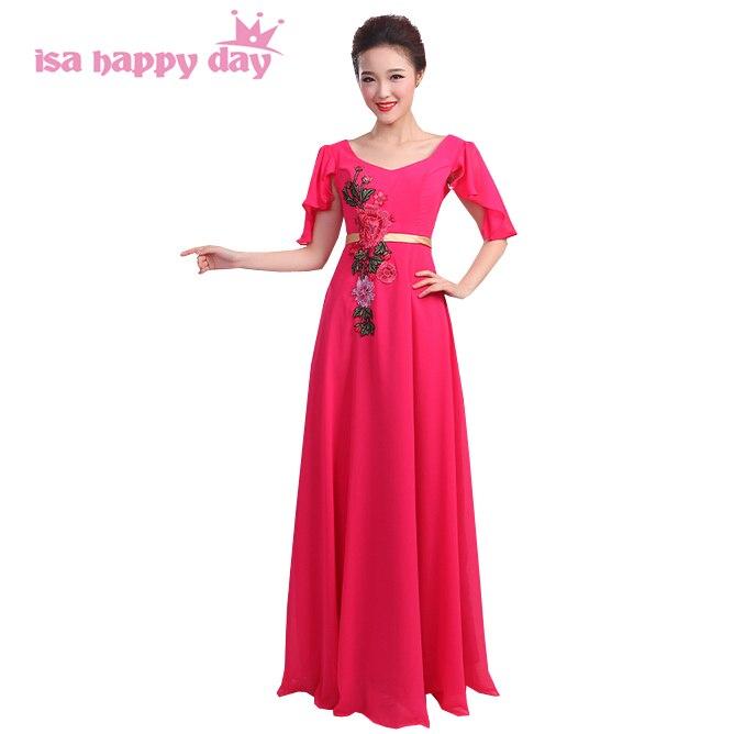 pretty nice c2fe7 15455 US $37.9 5% di SCONTO|Viola lungo chiffon fucsia rosa damigelle d'onore del  vestito abito elegante del partito della damigella d'onore abiti verde ...