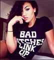 2016 New BAD BITCHES LINK UP Letter Print Women T-shirts Cotton Short Sleeve Top Sisterhood Female T Shirt F0219